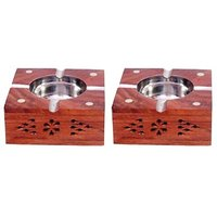 Onlineshoppee Wooden Premium Quality Antique Ashtray With Brass Inlay,Pack Of 2