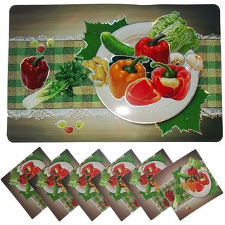 iLiv Printed Design Placemats Table 6 Mat + 6 Coaster Protects Food Stain (Assorted)