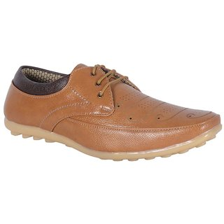 ShoeAdda Smart And Trendy Lace Up Casual Shoe Tan 343