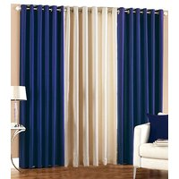 Dream Homz Rich Look Polyester Curtain Set (exclusive)-Blue  White Set Of 3