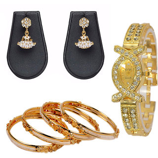 Pourni Pearl Gold plated bangles earring and watch combo for women - PRCOM01