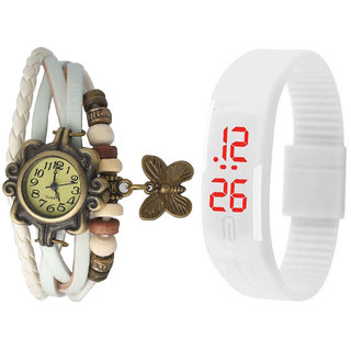 Jack Klein Combo Of White Vintage Watch And White Led Watch