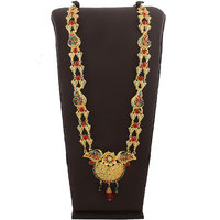 Anuradha Art Beautifully Design This Pretty Pink Colour Stone Stylish Necklace For Ganpati Murti