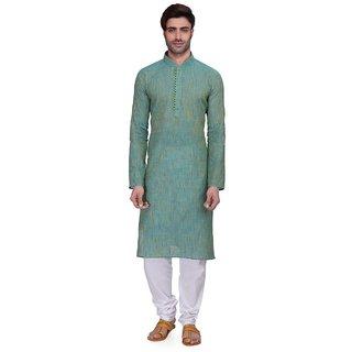 RG Designers Mens Full Sleeve Kurta Pyjama Set AVHandloomLoops-Blue