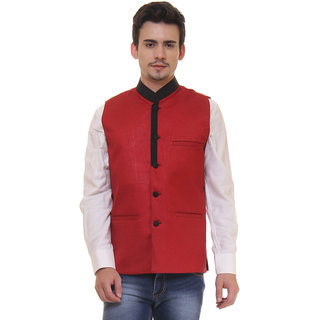 Routeen Red Black Casual Partywear Ethnic Modi Waistcoat Jacket for Men