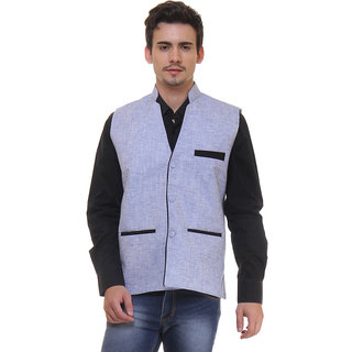 Routeen Blue Casual Formal V Neck Waistcoat Linen Jackets for Men