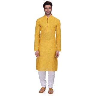 RG Designers Mens Full Sleeve Kurta Pyjama Set AVHandloomLoops-Yellow