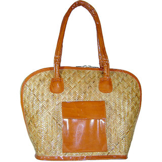 Saffron Craft Cane and Leatherette Handbag Large