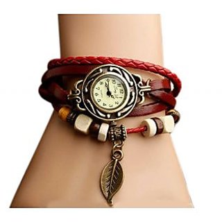 CooolHim-Round Dial Multicolor Leather Strap Womens Watch