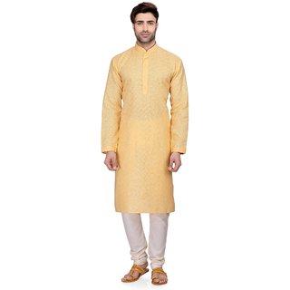 RG Designers Mens Full Sleeve Kurta Pyjama Set D6577Yellow