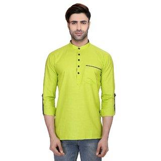 RG Designers Mens Full Sleeve Short kurta AVSONAPOCKET-GREEN