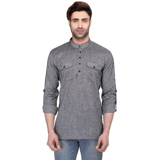 RG Designers Mens Full Sleeve Short kurta AVSARNATH-LIGHTGREY