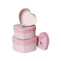 STRIPES Presents A Very Elegant  Durable Set Of 3 Heart Shape Cardboard Gift Box