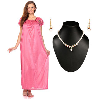 Fedrigo Pink Satin Long Nighty With Classic Pearl Beaded Necklaces Set