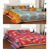 Combo Of Printed Cotton Double Bedsheet With 4 Pillow Covers