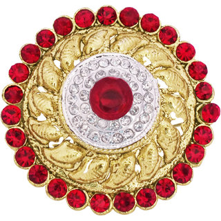 Maroon Stones Studded Traditional Golden Ring By 24Karats