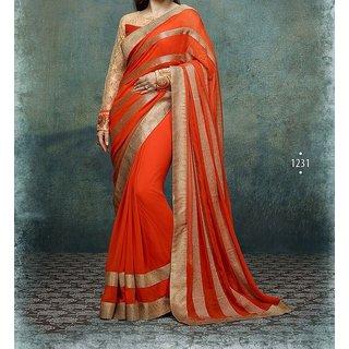 Kapewala Presents Orange Georgette Sari (KAP-Heeba Orange Saree)