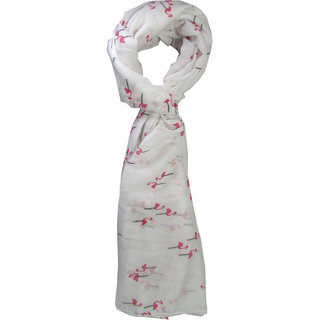 White Base Swan Print Stole For Girls By Slover