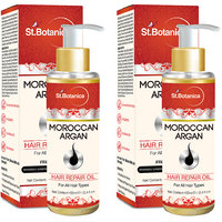 St.Botanica Moroccan Argan Hair Repair Oil - 100ml - For All Hair Types  Beard With Vitamin E - Pack Of 2