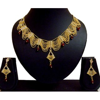 New Gold Plated Bridal Necklace Set With Earrings