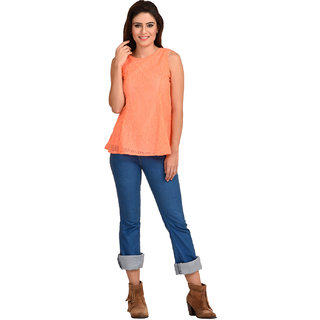 Rosytint Women's Orange Partywear Woven Net Top
