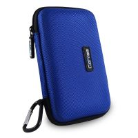 GoFree Hard Disk Carrying Case - Rigid Shock Proof HDD Case For Portable External USB Hard Drive - Compatible With WD Elements / My Passport Ultra / Seagate Back Up Plus Slim / Transcend StoreJet / Toshiba Canvio Basics /Etc. - Azure Blue