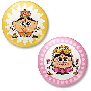 Lord Ganesha n Goddess Laxmi Fridge Magnet Combo 425