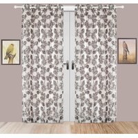 Door Curtain Jacquard Floral Design Black Bh62X2D