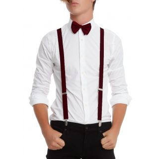MAROON SUSPENDER AND BOW TIE COMBO-M