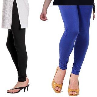 Stylobby Black And Blue Cotton Lycra Pack Of 2 Leggings