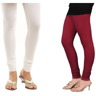 Stylobby White And Maroon Cotton Lycra Pack Of 2 Leggings