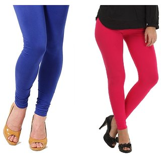 Stylobby Blue And Hot Pink Cotton Lycra Pack Of 2 Leggings