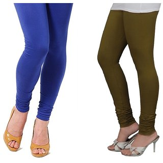 Stylobby Blue And Olive Green Cotton Lycra Pack Of 2 Leggings