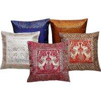 Gurukripa Shopee Floral And Leafy Design Colorful Jacquard Fabric Cushion Cover 5Pc. Set - CUSGKS106