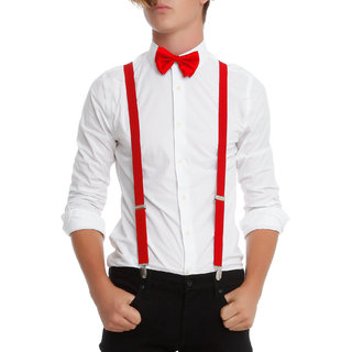 RED SUSPENDER AND BOW TIE COMBO-RED