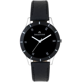 Black Dial Black Leather Strap Analog Watch For Women/Girls