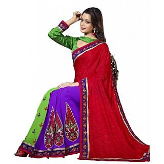 Traditional Embroidered Party Wear Indian Designer Ethnic Saree available at ShopClues for Rs.2165