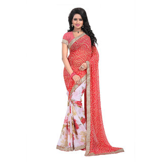 Fabdeal Party Wear Red Colored Bandhani Chiffon Saree/Sari With Border Work