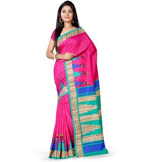 Saree Mall Pink Bhagalpuri Printed Saree With Unsitiched Blouse