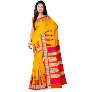 Saree Mall Yellow Bhagalpuri Printed Saree With Unsitiched Blouse
