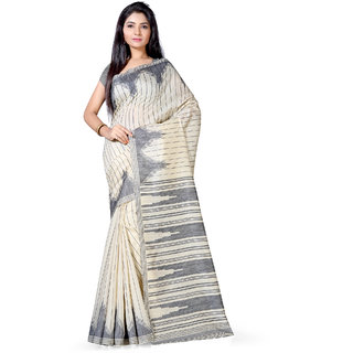 Saree Mall Cream  Grey Bhagalpuri Printed Saree With Unsitiched Blouse