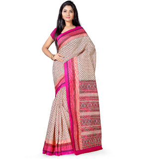 Saree Mall Beige  Pink Bhagalpuri Printed Saree With Unsitiched Blouse
