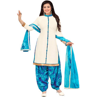 Sareemall Off White Cotton Dress Material With Unstitched Dupatta