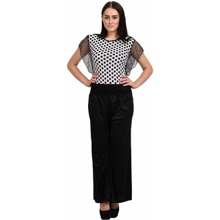 Rosytint Women's White Polka Dot Printed Shoulder Net Top
