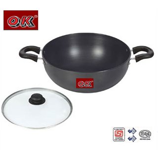 Ok Hard Anodised Induction Base Deep Kadai with Glass Lid- IND DKHA1