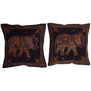 Gurkripa Shopee Cute Elephant Print Aari Zari Embroidered Cushion Cover 2 Pc. Set - CUSGKS208