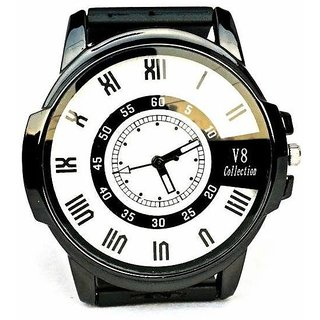 Casual Mens Wrist Watch With White Dial And Black Silicon Strap