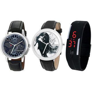 Jack Klein Combo Of 2 Graphic Stylish Elegant Analog Wrist Watch And Black Led Watch