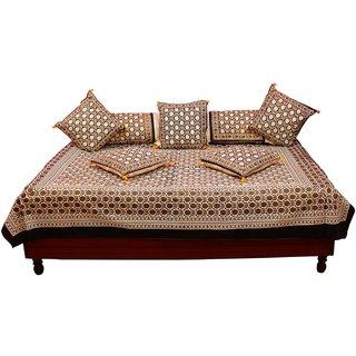 Gurukripa Shopee Designer 8 Piece Gold Print Abstract Pattern Diwan BedSet DWSGKS102