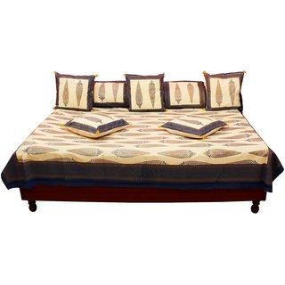 GurukJaipuri Gold Print Pure Cotton Diwan BedSet DWSGKS106